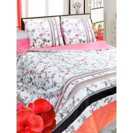 Купить Комплект постельного белья с цветами и полосками Sova и Javoronok Евро