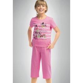 Купить Пижама для девочек из хлопка, с коротким рукавом и рисунком Pelican GNTP412