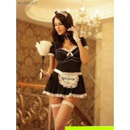Купить комплект женский (платье, головной убор, кружево на шею, метелка, перчатки, стринги, чулки) Charmante e8512
