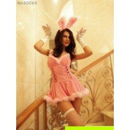 Купить комплект женский (платье, головной убор, перчатки, чулки, стринги) Charmante e8551