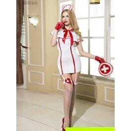 Купить комплект женский (накидка, платье, головной убор, перчатки, сумка, чулки, стринги) Charmante e9703
