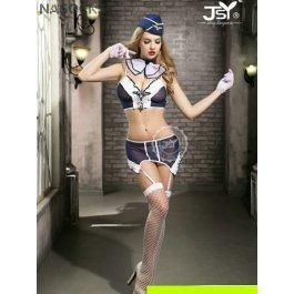 Купить комплект женский (бюстгальтер, чулки, платок на шею, юбка, стринги, перчатки, пилотка) Charmante e9717