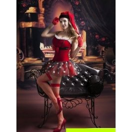 Купить комплект женский (платье, головной убор, чулки, перчатки, стринги) Charmante e9757