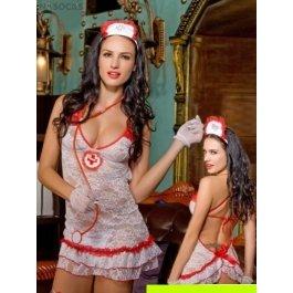 Купить комплект женский (платье, головной убор, стетоскоп, перчатки, стринги, чулки ) Charmante e9826